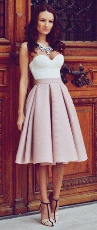 Как носить широкую юбку миди