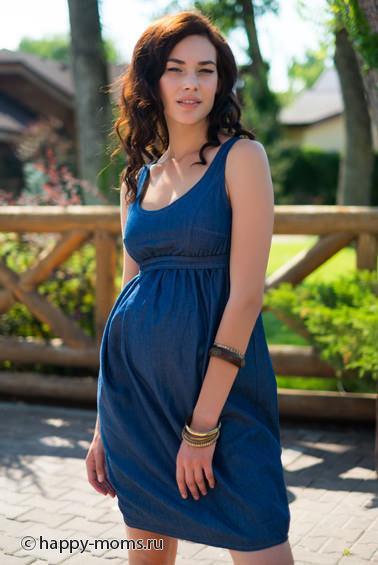 Джинсовый сарафан для беременных белый / мод. 66015 / купить