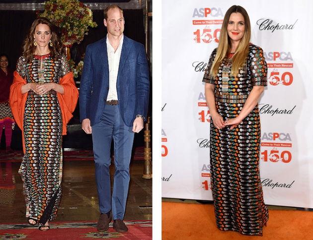 Кому идет больше это пестрое платье - Кейт Миддлтон или Дрю Бэрримор?