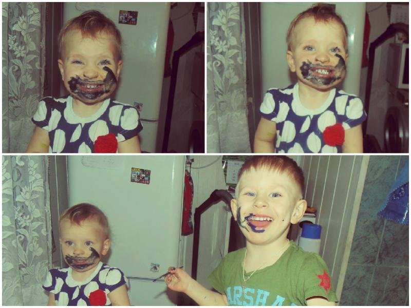 Юные креативщики Герда (1 год) и Георгий (3 года)