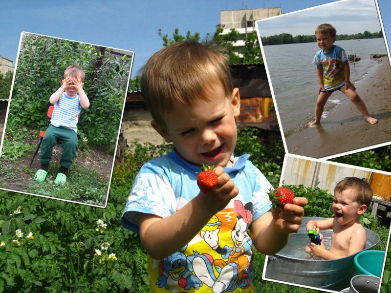 Как же я люблю клубнику, И купаться на реке, Помогать на огороде и плескаться в тАзике!!!
