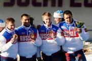 Чемионы бобслея - Александр Зубков, Алексей Негодайло, Дмитрий Труненков и Алексей Воевода.